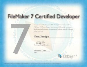FileMaker 7 Certification for Kent Searight