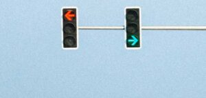 Traffic lights used to represent stop and go conditions