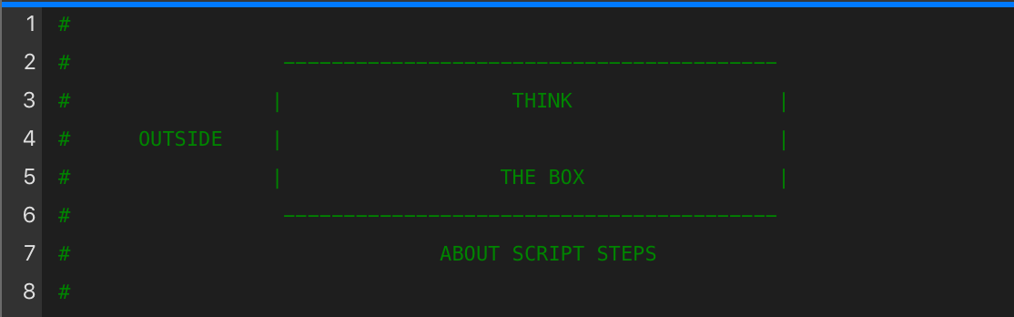 """Script showing """"Think outside the box"""" as a graphic in it"""
